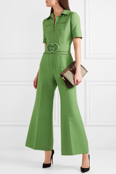 bd84c77e360 Belted wool and silk-blend cady jumpsuit