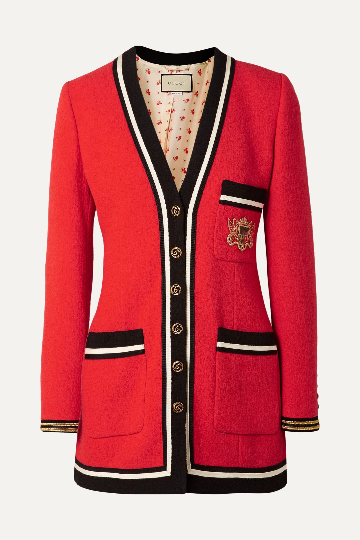 Gucci Appliquéd grosgrain-trimmed wool-crepe jacket