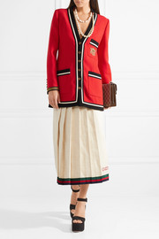 Gucci Appliquéd grosgrain-trimmed wool-crepe jacket