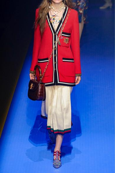 Gucci Jackets Appliquéd grosgrain-trimmed wool-crepe jacket