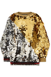 Embellished metallic knitted sweater