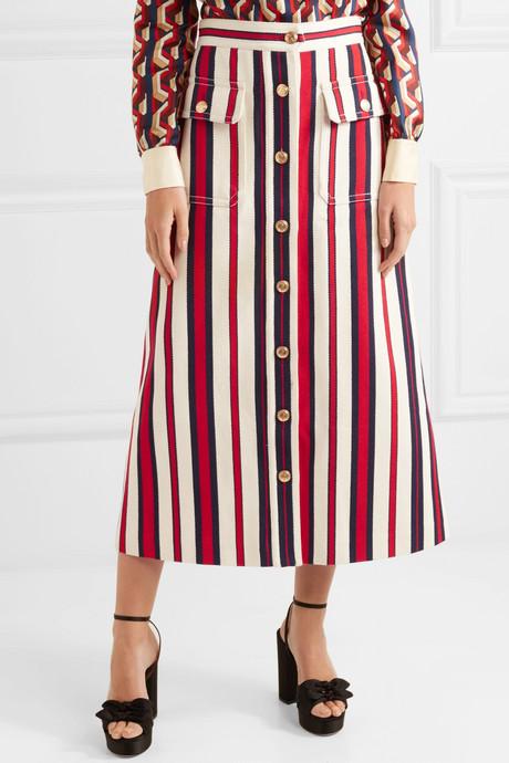Striped denim midi skirt