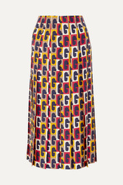Gucci Pleated printed silk-twill midi skirt