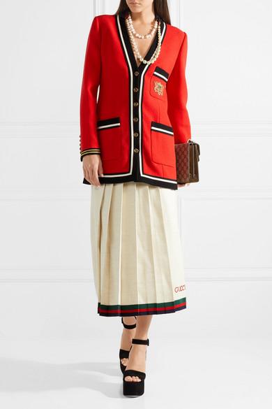 Gucci Midirock aus einer Leinen-Seidenmischung mit Falten und Stickereien Günstig Kaufen Angebot Günstig Kosten Hj48p32v