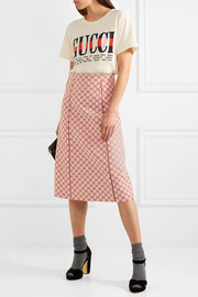 Gucci Printed cotton-blend canvas midi skirt