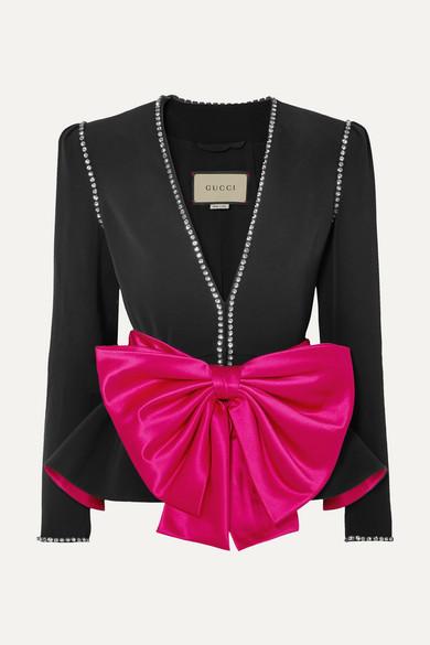 Gucci Jacke aus Crêpe mit Schleifen- und Kristallverzierungen Rabatt-Countdown-Paket pyQKxPJ4y