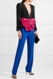Gucci Bow and crystal-embellished crepe jacket