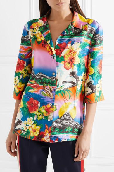 Gucci Bedrucktes Hemd aus Seiden-Twill Mode Günstig Online Spielraum Günstiger Preis In3Z9G