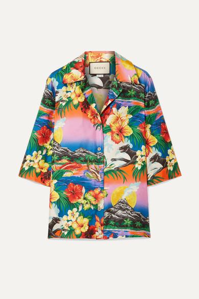 9407dff33 Gucci | Printed silk-twill shirt | NET-A-PORTER.COM