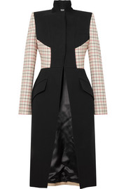 Paneled checked wool-blend coat
