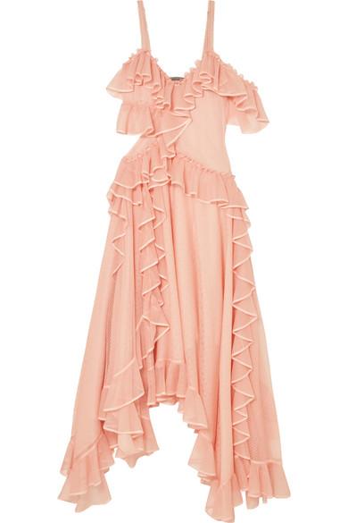 Alexander McQueen Asymmetric ruffled silk gown Purchase For Sale CmQ3HWf5Eq