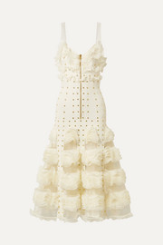 Alexander McQueen Jacquard-knit and ruffled mesh gown