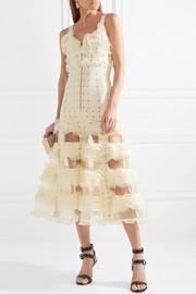 Jacquard-knit and ruffled mesh gown