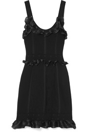 Alexander McQueen Ruffled organza-trimmed jacquard-knit mini dress