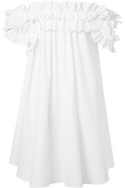 Alexander McQueen Ruffled off-the-shoulder cotton-poplin dress