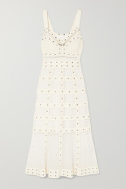 Embellished stretch-knit gown