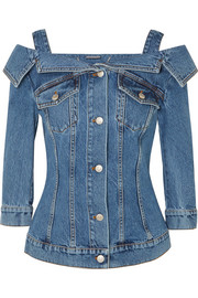 Cold-shoulder denim jacket
