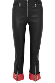 Alexander McQueen Cropped two-tone leather slim-leg pants