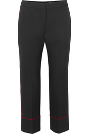 Alexander McQueen Piped cropped wool-blend straight-leg pants