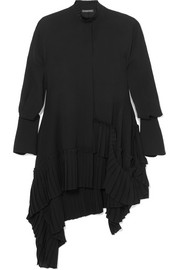 Oversized asymmetric ruffled silk crepe de chine blouse