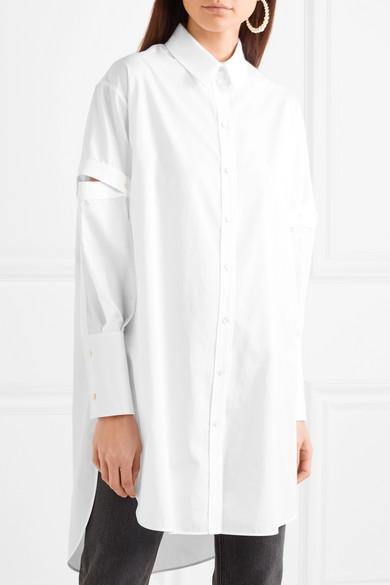 Alexander McQueen Oversized-Hemd aus Baumwoll-Oxford mit Cut-outs