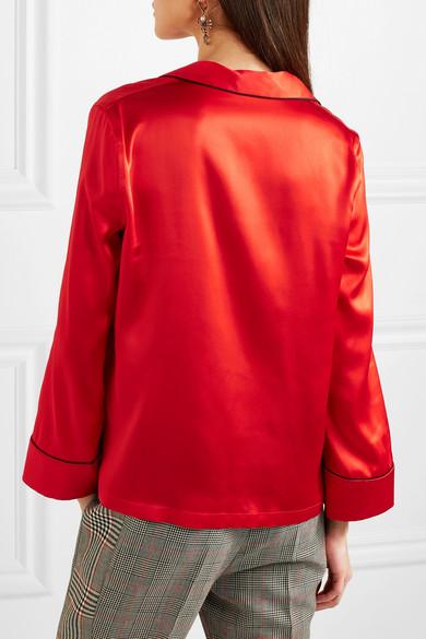 Alexander McQueen Besticktes Hemd aus Seidensatin