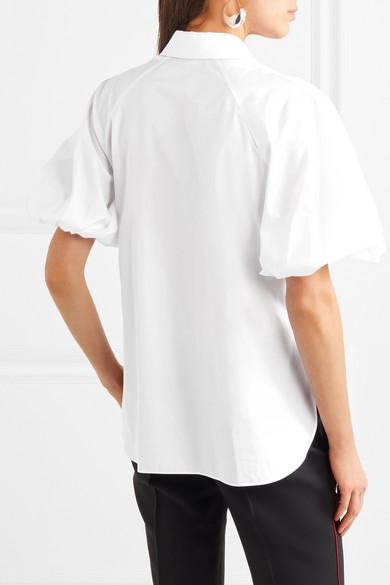 Alexander McQueen Hemd aus Baumwollpopeline mit Piqué-Besätzen
