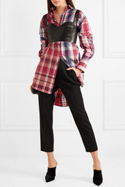 Oversized cutout checked silk and cotton-blend shirt