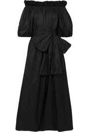 Stella McCartney Off-the-shoulder belted taffeta maxi dress