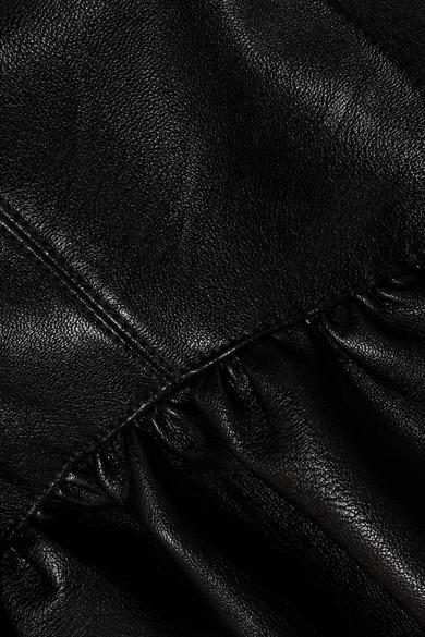 Stella McCartney Verkürzte Jacke aus strukturiertem Kunstleder mit Schößchen