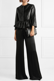 Stella McCartney Cropped faux textured-leather peplum jacket