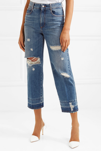 Stella McCartney Verkürzte, hoch sitzende Jeans mit geradem Bein in Distressed-Optik