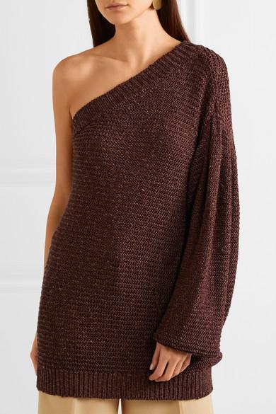 Stella McCartney Gehäkelter Oversized-Pullover mit asymmetrischer Schulterpartie
