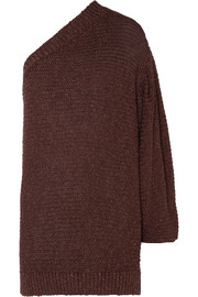 Stella McCartney Oversized one-shoulder crochet-knit sweater