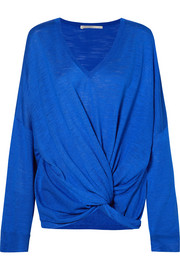 Stella McCartney Twist-front slub silk-jersey sweater