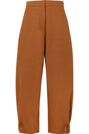 Stella McCartney Toggle-detailed poplin wide-leg pants