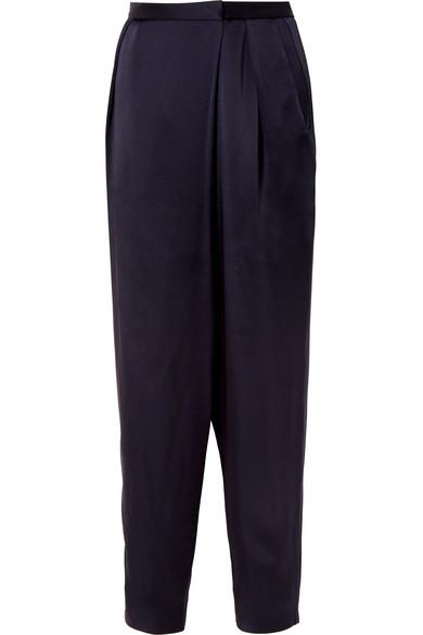 Wrap-effect Satin Tapered Pants - Navy Stella McCartney Y2j5EfW