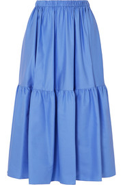 Stella McCartney Tanya tiered cotton-poplin midi skirt