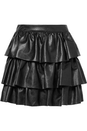 Stella McCartney Anika tiered faux leather mini skirt
