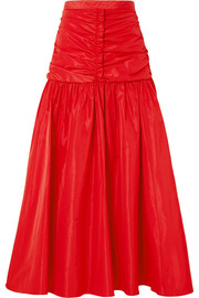 Stella McCartney Ruched taffeta maxi skirt