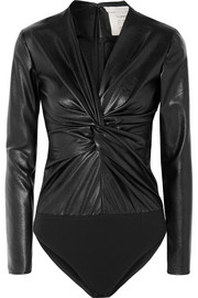 Stella McCartney Knotted faux leather and stretch-jersey bodysuit