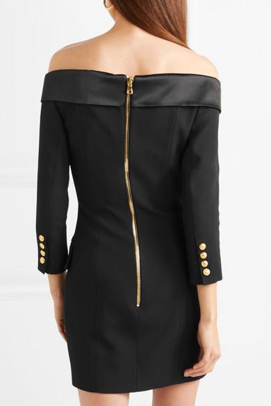 35d034e0 Balmain | Off-the-shoulder double-breasted wool mini dress | NET-A ...