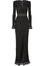 Balmain Wrap-effect metallic ribbed stretch-knit gown