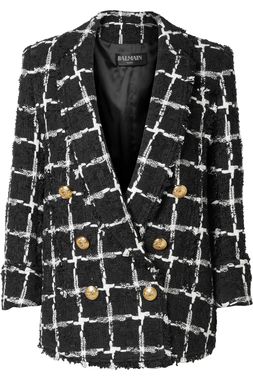 Manteau à Double Boutonnage En Tweed à Carreaux Noir Et