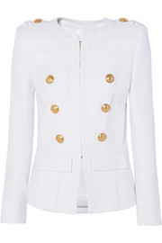 Button-embellished woven blazer
