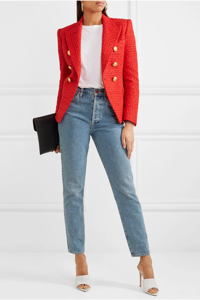 Balmain Double Breasted Blazer From Tweed