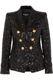 Double-breasted sequinned chiffon blazer