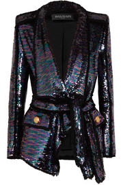 Sequined frayed crepe blazer