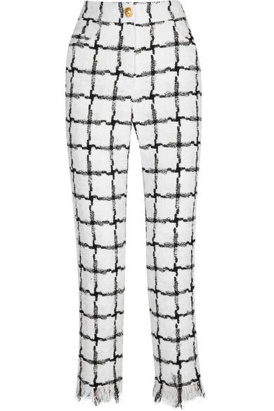Balmain Hose mit geradem Bein aus kariertem Tweed mit Fransen