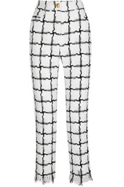 Balmain Frayed checked tweed straight-leg pants